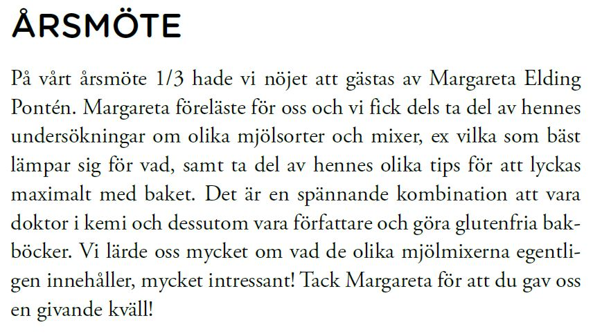 Borås Celiakiföreningen i Sjuhäradsbygden 1 mars 2016